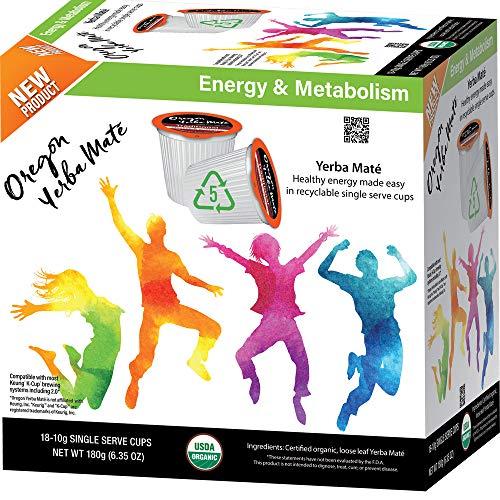 Oregon Yerba Mate, Single-Serve K-Cup, Yerba Mate Green Tea Pods, Recyclable, 18 Count