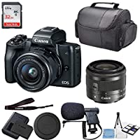Canon EOS M50 Mirrorless Digital Camera (Black) with 15-45mm Lens (Graphite) + 32GB SD Memory + Premium Microphone + Professional Carrying Case + Camera Deluxe Starter Kit