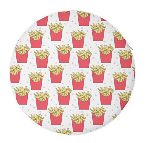 French Fries Round Non Slip Memory Foam Seat Chair Cushion Pads for Indoor Outdoor Patio Furniture Garden Home Office School Dormitory (Patio Furniture Frys)