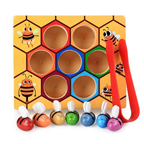 Flymall Wooden Bee Picking Toy Catching Practices for Baby Early Educational Toddler Montessori Game Colorful Beehive Box by Flymall