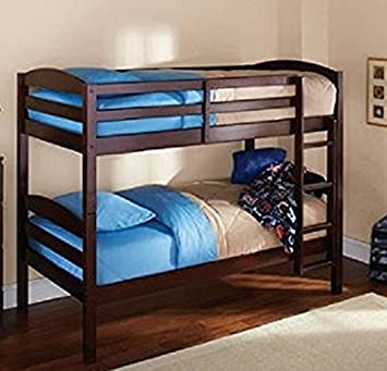 Amazon Com Mainstay Twin Over Twin Wood Bunk Bed Espresso