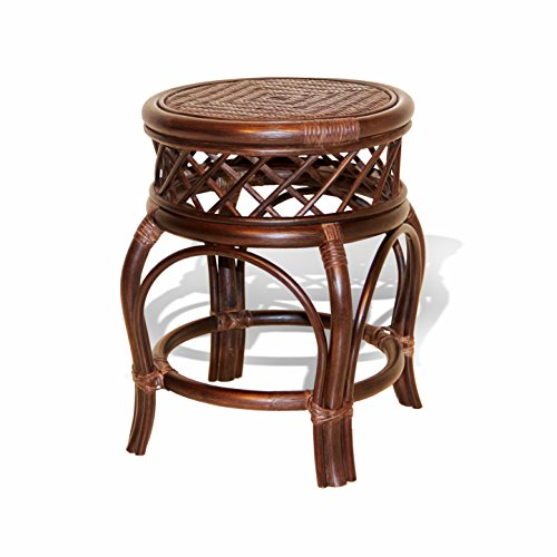 (Ginger Handmade Rattan Wicker Stool Fully Assembled Dark Brown)