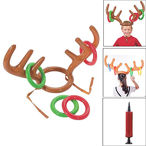 CMrtew Holiday Party Game Toys,Inflatable Reindeer Christmas Hat Antler Ring Toss (as Shown, 97cm x 16cm) ()