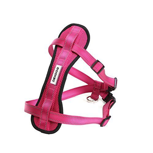 DEXDOG Chest Plate Harness Auto Car Safety Harness | Adjustable Straps, Reflective, Padded for Comfort | Best Dog Harness Small Large Dogs (Pink, X-Large)