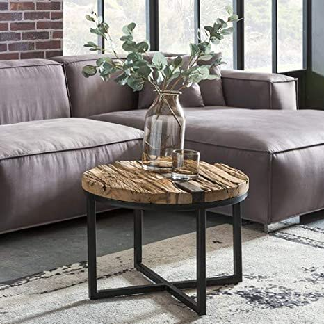 Wohnling Bellary Coffee Table 60x46x60 Cm Round Sofa Table With Metal Frame Solid Wood Coffee Table Wood Table Coffee Table Amazon De Kuche Haushalt