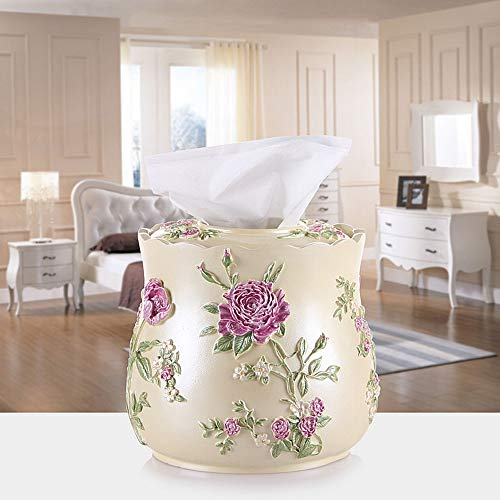 LJJL Multi-Function Tissue Bucket, European Resin Tray, Home Creative Garden Rose Paper Towel Bucket Tissue Storage Box (Color : B) from GLJ tissue box