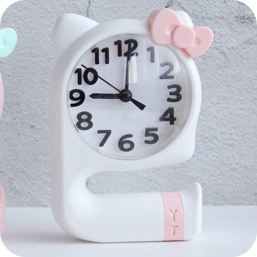 Zicue Réveil Rétro Classique Belle Bowknot Silencieux réveil pour Les Enfants Enfants étudiants (Blanc)