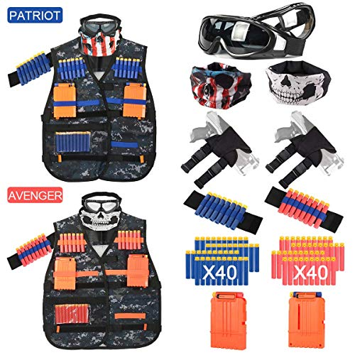 (i.VALUX Tactical Vest Kit for Nerf Guns N-Strike Elite Series, Vest Tactical Kids [2 Pack] with Top Goggles & Mask, Refill Darts, Tactical Holster, Reload Clips, Wrist Band, Nerf Guns Kits for Boys)