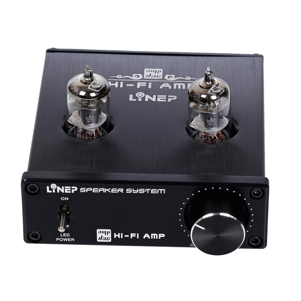 Black KESOTO Tube-01 Pre-Amplifier Hi-FI Stereo Buffer Preamp with Mini 6J1 Valve /& Vacuum Tube DC 12V