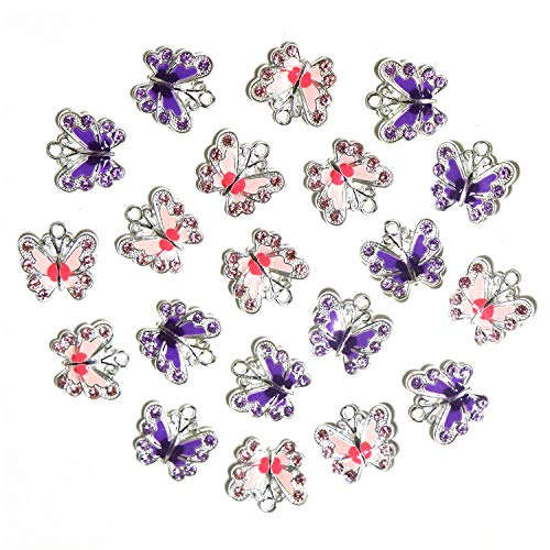 (20 Pcs Butterfly Enamel Charm Pendant Silver Plated Crystal Dainty Dangle Crafting Accessories Decorations for Necklace Bracelet Ankle Earring Jewelry DIY Making)