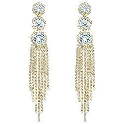 Women's Long Dangling Crystal Tassel Earrings