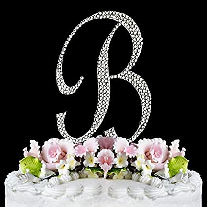 rhinestone cake topper letter b by other