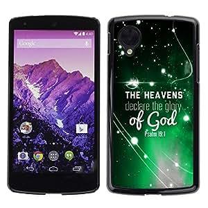 Paccase / Dura PC Caso Funda Carcasa de Protección para - BIBLE The Heavens Declare The Glory Of God - Psalm 19:1 - LG Google Nexus 5 D820 D821