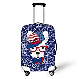 Spandex Luggage Protector Suitcase Cover Black and White, Dog Print Luggage Protector