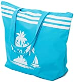 Beach Bag Womens Large Canvas Summer Tote Bags With Zipper Closure 19'' x 15'' x 6'' Palm tree Pattern (Blue)