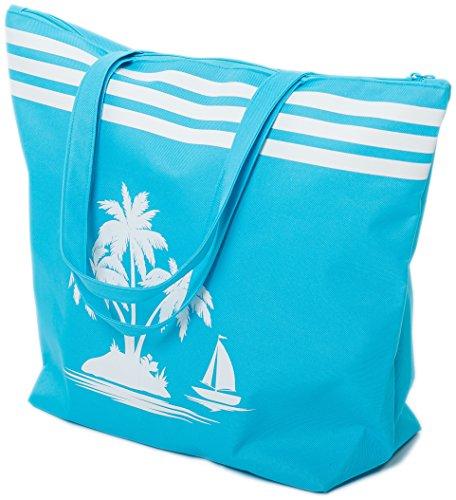 Bolsa de Playa Bolso de Mano con patron de Palmera Airee Fairee Azul