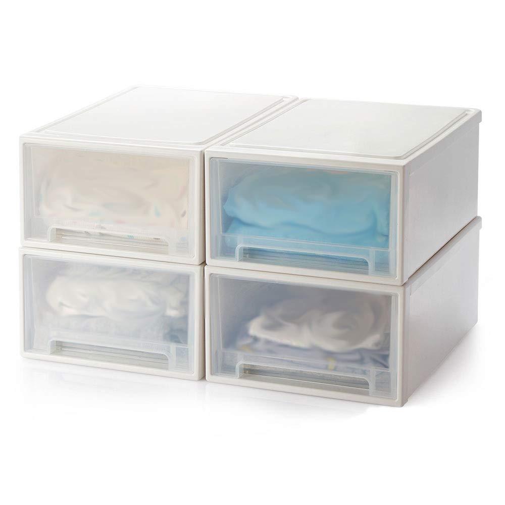 MYQ 収納ボックス 収納ボックス、4つの装填された透明なワードローブ収納キャビネットと引き出し収納ボックスの服下着収納ボックス 化粧品収納ボックス (色 : A) B07QM81QCX A