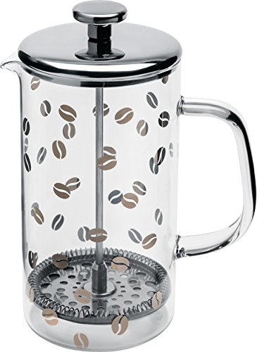 Alessi ''Mame'' Press Filter Coffee Maker Or infuser in 18/10 Stainless Steel Silk-Screened Mirror Polished And Heat Resistant Glass, Silver by Alessi