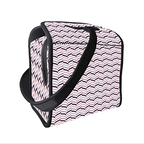 - Neoprene Lunch Tote Bag with Shoulder Strap,Eggplant,Sea Whale Fish Tail Inspired Design with Leaf like Details Art,Light Pink Purple and Lilac,for boys girls and adults