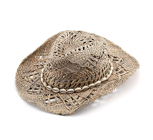 JOOWEN Classic Straw Cowboy Cowgirl Hat Bendable Brim with Shell Band (Sand)