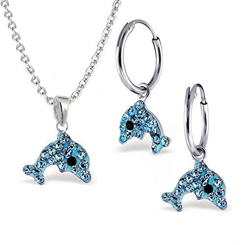 gh1a Azul Cristal Delfín Juego colgante + collar + pendientes de aro plata de ley 925niños niña Delfín