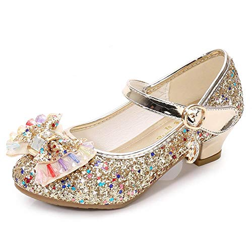(Kinkie Kids Girls Mary Jane Flats Wedding Party Shoes Glitter Sequins Uniform School Ballerina Shoes Gold 11 M US Little Kid)
