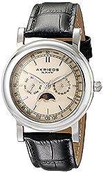 Akribos XXIV Men's AK632SSW Retro Multifunction Silver-tone Stainless Steel Black Leather Strap Watch