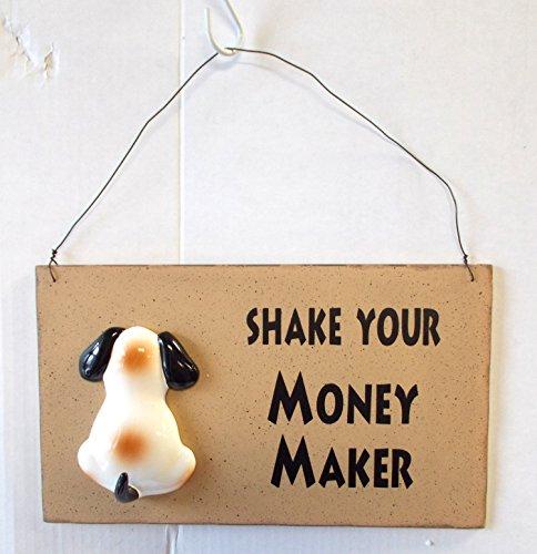 "Shake Your Money Maker Dog Leash Holder Resin Sign 12"" NWT"