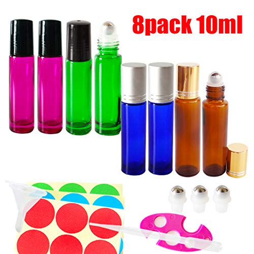 GreatforU 8pcs 10ml Empty Makeup Refillable Container, Cosmetic Glass Roller Bottles w/Stainless Steel Balls for Essential Oil, Extra 3ml Dropper, Mini Funnel, Opener, 3 Roll-on Balls, 12 Labels