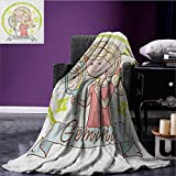 Zodiac Gemini wearable blanket Cartoon Style Little Girl with a Mirror and Reflection Twins Concept for Kids security blanket Multicolor size:50''x60''