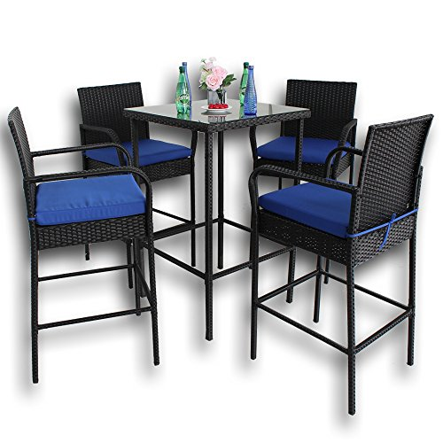 Leaptime Patio Rattan Bar Table and Stools Set Outdoor Garden Wicker ...