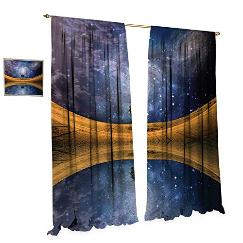 Meteor Award - Anniutwo Space Window Curtain Drape Surreal Single Tree on Galaxy with Stars Meteors Unusual Sci Fi Panorama Print Decorative Curtains for Living Room W96 x L108 Brown Purple Blue
