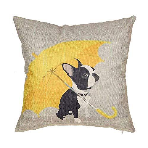 (SLS Boston Terrier with Yellow Umbrella Dog Lover Gift Cotton Linen Decorative Throw Pillow Case Cushion Cover Lion Piillow case 18