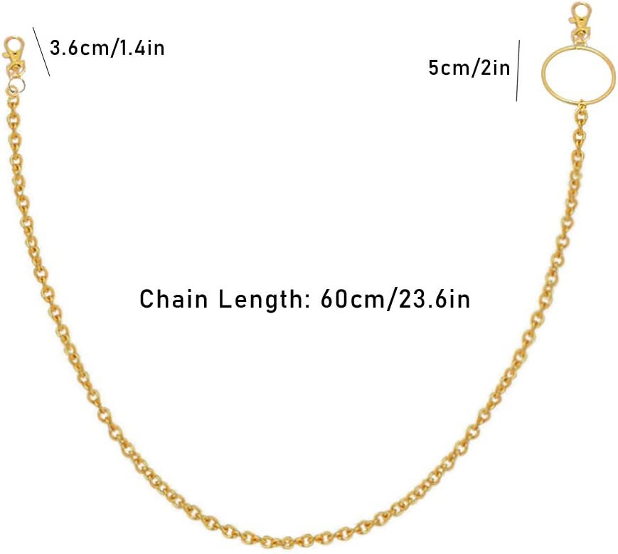 Ceqiny 2pcs Pocket Chain Jeans Chains Women Pants Chain Waist Chain Belt Chains Hip Hop Punk Chain DIY Motorcycle Jean Gothic Rock Key Chain with Lobster Claw Clasp Trigger Snap Hook for Men Gold