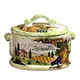 Biscotti Toscana Oval Jar with Tuscan Scene