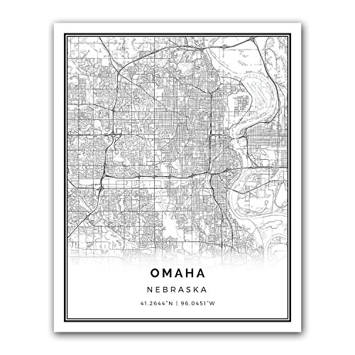 Omaha map poster print | Modern black and white wall art | Scandinavian home decor | Nebraska City prints artwork | Fine art posters 11x14
