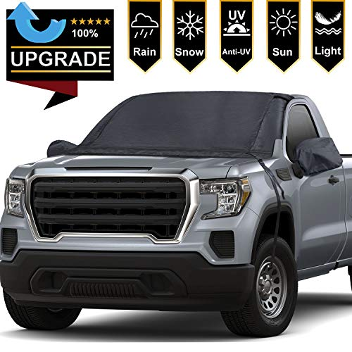 RVMasking Windshield Snow & Ice Cover Frostblocker Wiper Visor Protector All Weather Winter Summer Auto Sun Shade for Cars Trucks Vans and SUVs with Free 2 Mirro Covers