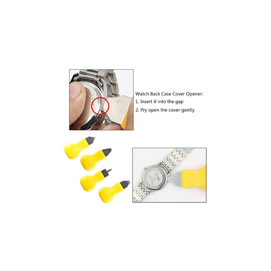 Watch Back Case Opener Remover Removal Knife Repair Tool Different Sizes 5pcs, Teenitor Watch Battery Removal Change Stainless Steel Watch Back Case Opener & 8 Extra Watch Pins, Yellow, 13pcs