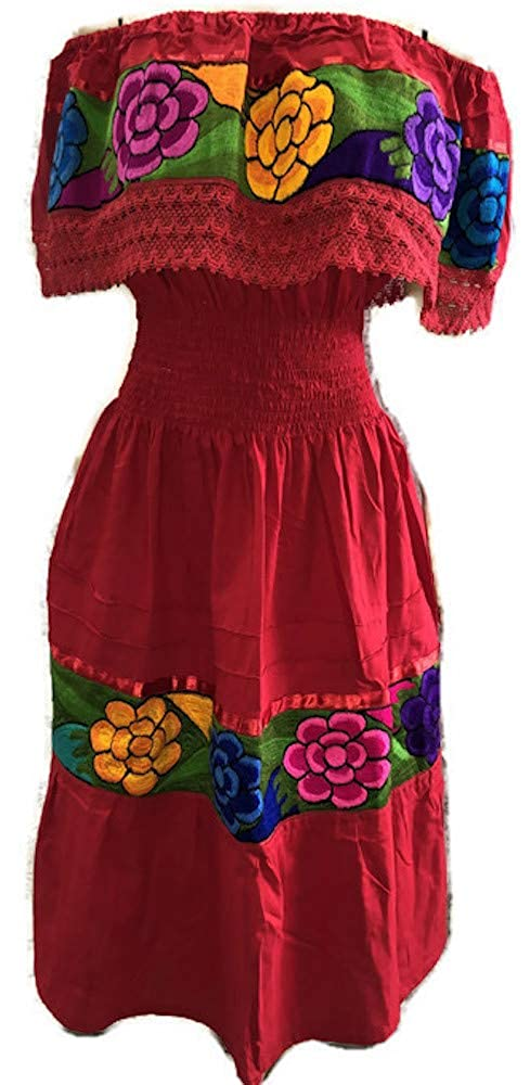 Women's Red Mexican Puebla Embroidered Crochet Dress (Small - XL) - DeluxeAdultCostumes.com