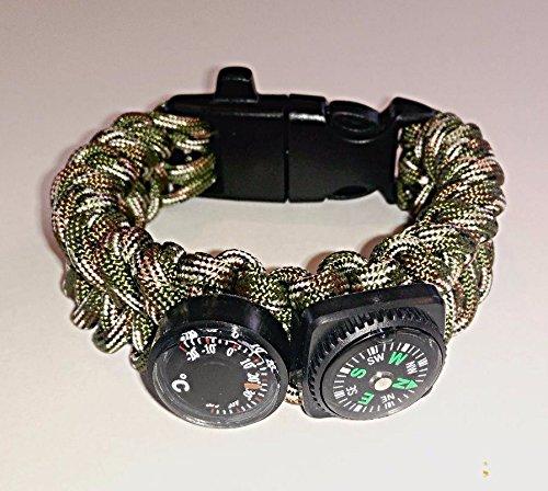 Bundle - 6 in 1 Survival Paracord Bracelet with FREE folding credit card knife by Camp Luna Lover