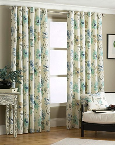 """BLUE TEAL FLORAL FULLY LINED 90"""" X 90"""" - 229CM X 229CM RING TOP EYELET CURTAINS DRAPES"""