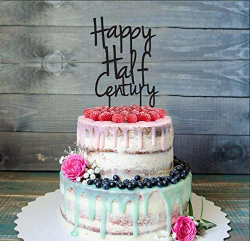 Astonishing Amazon Com Fiftieth 50Th Birthday Cake Topper Happy Half Birthday Cards Printable Nowaargucafe Filternl