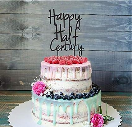 Amazon.com | Fiftieth 50th Birthday Cake Topper, Happy Half Century ...