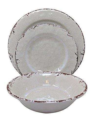 (Gianna's Home 12 Piece Rustic Farmhouse Melamine Dinnerware Set, Service for 4 (New Ivory))