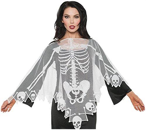 Underwraps Women's Skeleton Lace Poncho, White, One -