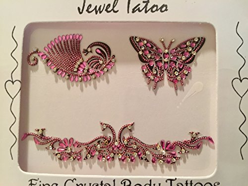 Trio Art Butterfly (Pretty Pink peacock butterfly trio vajazzle tramp stamp body decor with Swarovski stones and fine beads self adhesive reusable)