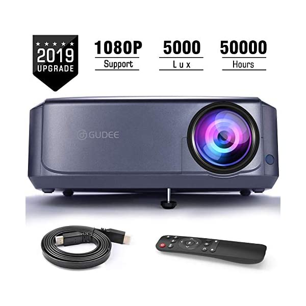 Projector, GuDee Upgrade Full HD Video Projector for Business PowerPoint Presentations, 1080P Home Movie Projector for Laptop, Smartphone, Fire TV Stick, PS4, HDMI, USB…