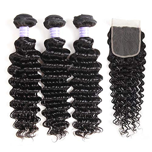 AMZTMY Brazilian Virgin Deep Wave 3 Bundles with Closure Free Part 8A 100% Unprocessed Human Hair Bundles with 4×4 Lace Closure Natural Black (20 22 24+18 Closure) (Best Products For Virgin Brazilian Hair)