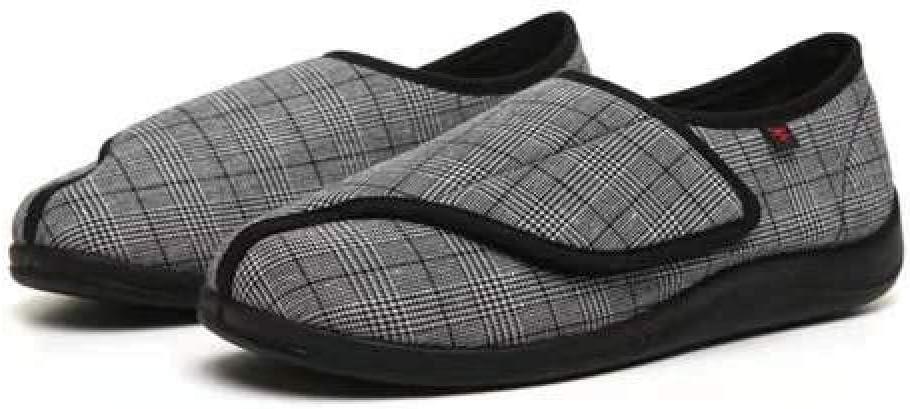 TDYSDYN Zapatos Transpirables para diabéticos,Los Zapatos de enfermería de Primavera y otoño se Pueden Ajustar, Zapatos de Velcro de celosía de pies Anchos y Gruesos-Negro_46