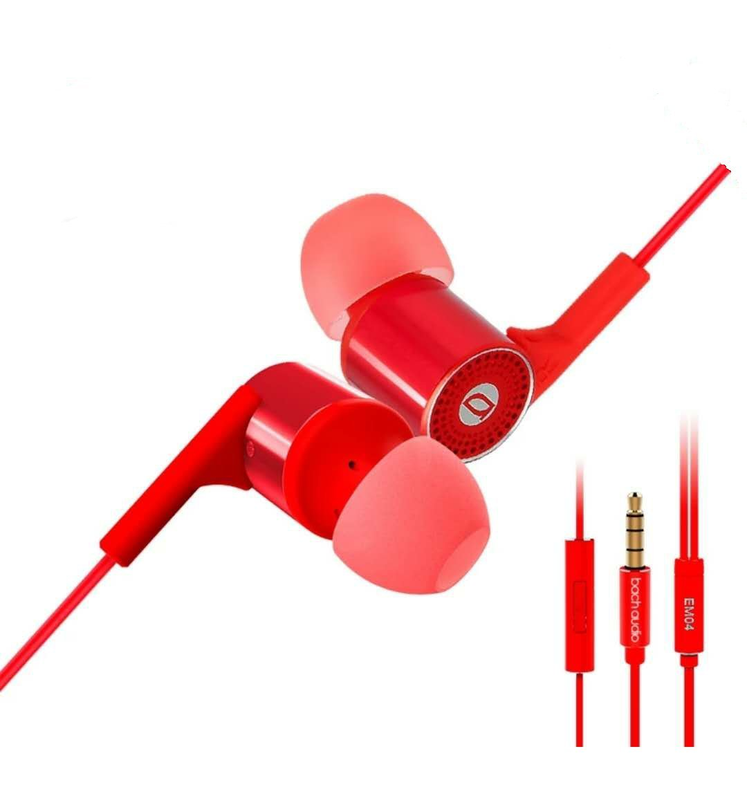 In- Ear Headphones,Bach-Audio-Em06 Earbuds With Mic and 3.5mm Gilded Plug ,Acoustic Noise Cancelling , Deep Bass and Stereo . Compatible with Android, Iphone and Miui HiFi Earbuds, Red.